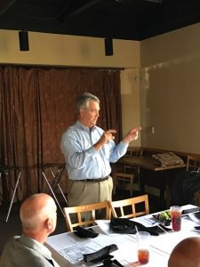 Dave Dennis, Speciality Contractors holds court at a SAM meeting on the Coast.